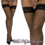 Jumbo Fishnet Lace Top Hold Ups Black